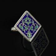 Кубачинское серебряное кольцо с эмалью ручной работы арт.8705