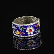 Кубачинское серебряное кольцо с эмалью ручной работы арт.8707