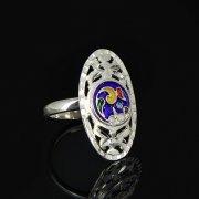 Кубачинское серебряное кольцо с эмалью ручной работы арт.8708