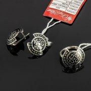 Кубачинский серебряный комплект украшений ручной работы с чернением (серьги, кольцо) арт. 7883