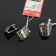 Кубачинский серебряный комплект украшений ручной работы с чернением (серьги, кольцо) арт. 7884