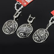 Кубачинский серебряный комплект ручной работы с чернением (серьги, кулон) арт. 7890