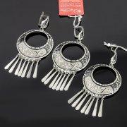 Кубачинский серебряный комплект ручной работы с чернением (серьги, кулон) арт. 7891
