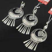 Кубачинский серебряный комплект ручной работы с чернением (серьги, кулон) арт. 7893