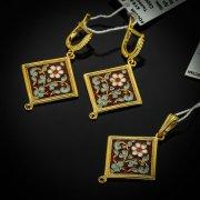 Кубачинский серебряный комплект ручной работы (серьги, кулон) арт.5530