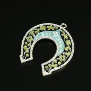 Кубачинская серебряная подкова с эмалью ручной работы арт.9693