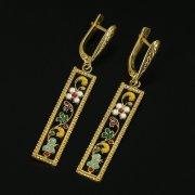 Кубачинские серебряные серьги ручной работы с эмалью арт.9734