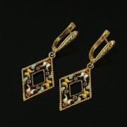 Кубачинские серебряные серьги ручной работы с эмалью арт.9736