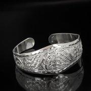 Серебряный кубачинский браслет белый №11