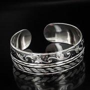Серебряный кубачинский браслет комбинированный №3