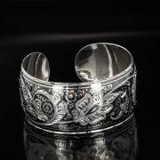 Серебряный кубачинский браслет с чернением арт.523