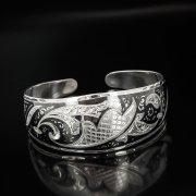 Серебряный кубачинский браслет широкий №23