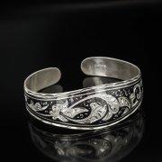 Серебряный кубачинский браслет с чернение арт.558