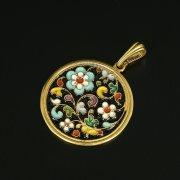 Кубачинский серебряный кулон с эмалью ручной работы арт.9707