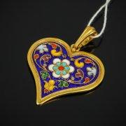Кубачинский серебряный кулон с эмалью ручной работы арт.7623