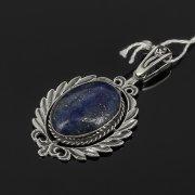 Кубачинский серебряный кулон ручной работы (камень - лазурит) арт.7849
