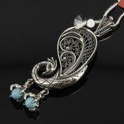 Кубачинский серебряный кулон ручной работы (камень - бирюза) арт.7850