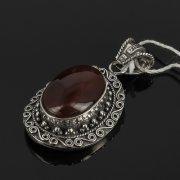Кубачинский серебряный кулон ручной работы (камень - сердолик) арт.7852