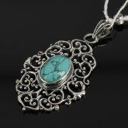 Кубачинский серебряный кулон ручной работы (камень - бирюза) арт.7856