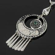 Кубачинский серебряный кулон ручной работы (камень - хризопраз) арт.7858