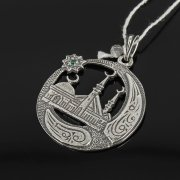 Кубачинский серебряный кулон ручной работы с гравировкой (камень - циркон) арт.7951