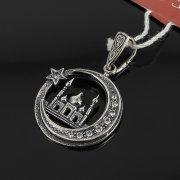 Кубачинский серебряный кулон ручной работы с гравировкой (камень - циркон) арт.7989
