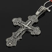Кубачинский серебряный кулон ручной работы с гравировкой (крест) арт.7997