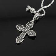 Кубачинский серебряный кулон ручной работы с гравировкой (крестик) арт.8010