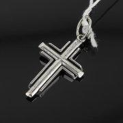 Кубачинский серебряный кулон ручной работы с гравировкой (крестик) арт.8011