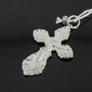 Кубачинский серебряный кулон ручной работы с гравировкой (крестик) арт.8016