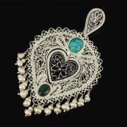 Кубачинский серебряный кулон ручной работы с филигранью (жемчуг, камень - бирюза) арт.9476
