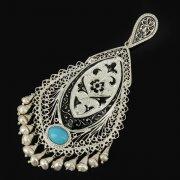 Кубачинский серебряный кулон ручной работы с филигранью (жемчуг, камень - бирюза) арт.9478