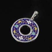 Кубачинский серебряный кулон с эмалью ручной работы арт.8729