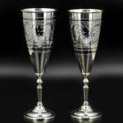Серебряные фужеры Кубачи ручной работы (2 персоны) арт.8638