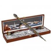 Кубачинский подарочный набор (кинжал с серебряными вставками и 2 бычьих рога) арт.6006