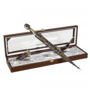 Кубачинский подарочный набор в футляре (кинжал с серебряными вставками и 2 бычьих рога) арт.6007