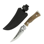 """Кизлярский нож туристический """"Клык-2"""" (сталь - AUS-8, рукоять - дерево, худож. оформление) арт.5101"""