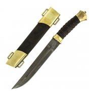Нож пластунский (сталь - дамасская, рукоять - венге) арт.5144
