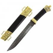 Нож пластунский (сталь - дамасская, в наборе - подвес и чехол) арт.5307