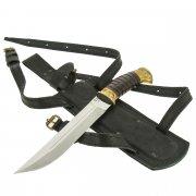 Нож пластунский в чехле (сталь - 65Х13, рукоять - венге, худож. литье) арт.7723
