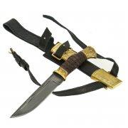 Нож пластунский Витязь (сталь - алмазная ХВ5, худож. оформление, рукоять - венге) арт.9100
