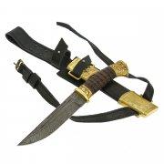 Нож пластунский Витязь (сталь - дамасская, худож. оформление, рукоять - венге) арт.9101