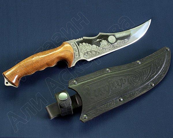 """Кизлярский нож разделочный большой """"Медведь"""" (сталь - 65Х13, рукоять - дерево) арт.2479"""