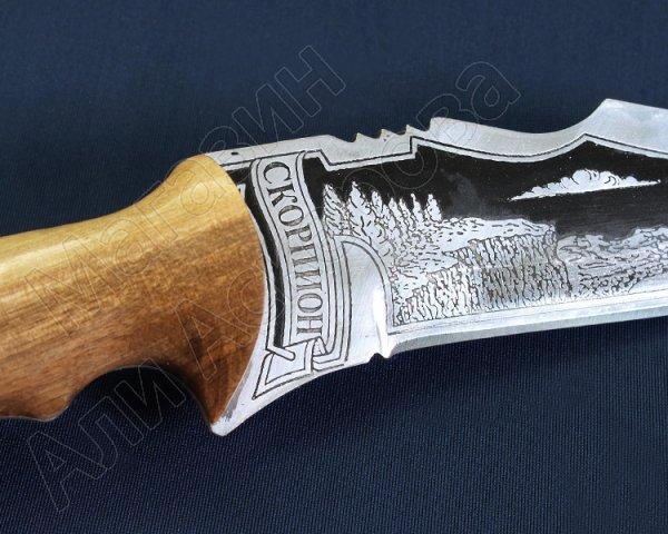 """Кизлярский нож разделочный большой """"Скорпион"""" (сталь - 65Х13, рукоять - дерево) арт.2480"""