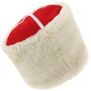Казачья кубанка белая (овчина, ручная выделка, высота 20 см, размерная утяжка) арт.6445