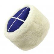 Казачья кубанка белая (овчина, ручная выделка, высота 15 см, размерная утяжка) арт.5726