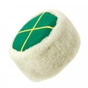 Казачья кубанка белая (овчина, ручная выделка, высота 15 см, размерная утяжка) арт.5727