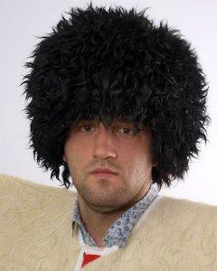 Кавказская папаха чабанская черная из натуральной козлиной шкуры арт.2138 - фото 1