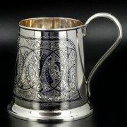 Серебряная пивная кружка Кубачи ручной работы арт.8658