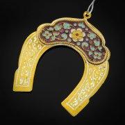 Кубачинская серебряная подкова с эмалью ручной работы малая (футляр в подарок) арт.6588